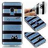 Qiaogle Teléfono Caso para Samsung Galaxy S9 - Funda de TPU Silicona Carcasa Case Cover - YY32 / Gato y Pez