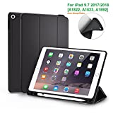 #5: Oaky Newest iPad 9.7 2018 case with Pencil Holder Shockproof Lightweight Soft TPU Folio Smart Back Cover and Trifold Stand with Auto Sleep/Wake, Protective, Magnet protective Function for Apple iPad 9.7 2017 5th Generation/6th Generation (A1893/A1954) - Black