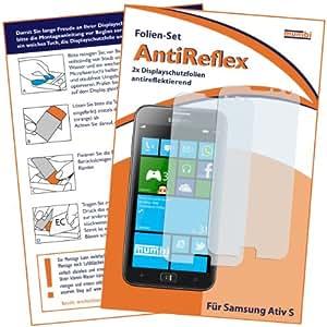 2x mumbi Displayschutzfolie Samsung Ativ S Schutzfolie AntiReflex antireflektierend (bewusst kleiner als das Display, da dieses gewölbt ist)