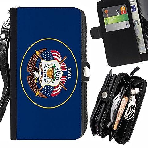 STPlus Utah, The Beehive State Flagge USA Vereinigte Staaten von Amerika Geldbörsenhalter mit Handschlaufe und Reißverschluss Hülle Schutzhülle für Sony Xperia Z5 Premium
