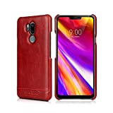 LG G7 ThinQ Case, Pierre Cardin Genuine Leather Premium Vintage Classic Business Style Hard Back Cover Slim Protective for Men for LG G7 ThinQ - Red