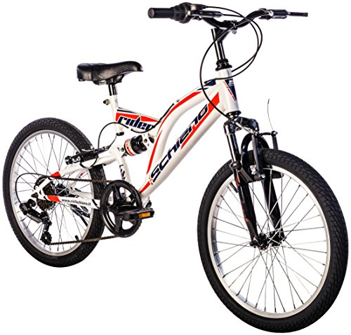 "F.lli Schiano Rider Shimano - Bicicleta Biamortiguada 18V para hombre, color blanco / rojo, 20"""
