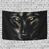 JSTEL Wandteppich, Motiv: schwarzer Wolf, Wandbehang Dekoration für Wohnzimmer, Wohnzimmer, Wohnzimmer, Tisch, Überwurf, Tagesdecke, Wohnheim, 100 x 150 cm, Multi, 100 x 150 cm