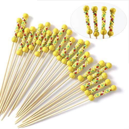 Hifot Cocktail-Sticks 100 zählt hölzerne Zahnstocher-Cocktail-Auswahl-Partei-Versorgungsmaterialien Knabbereien Finger Essen Früchte - Gelbe Doppelperlen (Partei Für Die Mittelstücke)