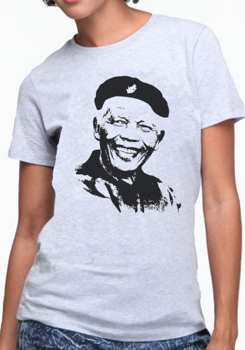 OM3 - Che-Mandela-Revolution - Damen T-Shirt Cuba Che Guevara Nelson Madiba RIP Süd Afrika Peace Freedom, XXL, Grau Meliert