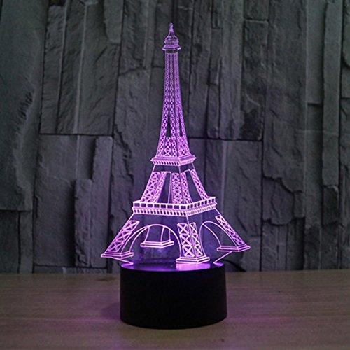 Lampe 3D ILLUSION Lichter der Nacht, kingcoo 7Farben LED Acryl Licht 3D Creative Berührungsschalter Stereo Visual Atmosphäre Schreibtischlampe Tisch-, Geschenk für Weihnachten, Kunststoff, tour Eiffel 0.50 wattsW - 5