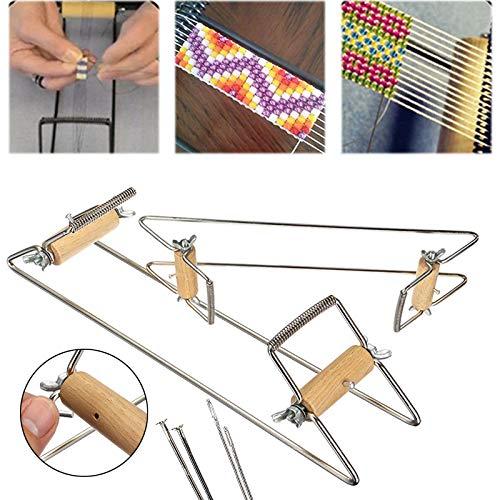 Tocawe Perlenwebrahmen mit Perlen, Webrahmen für Kinder Webstuhl Spielzeug Strickstuhl Holz Weben Beading Webstuhl Set für Schmuck Armbänder Halsketten Ohrringe Machen