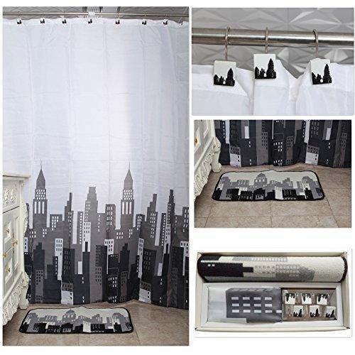 Uomere Moderno edificio de 14 Pc Juego de accesorios de baño de lujo tela de la cortina de la ducha y ganchos Mat