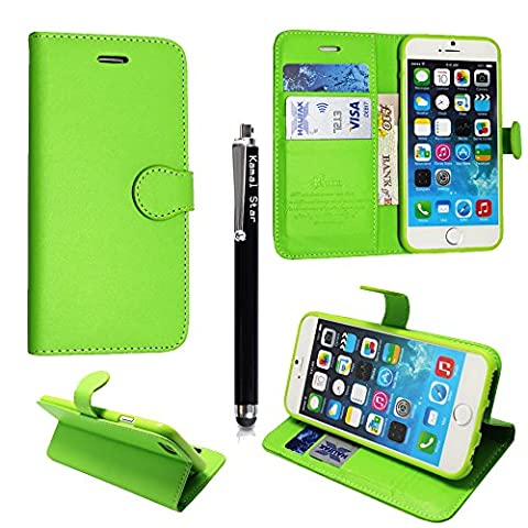 Kamal Star® Various Apple Phones Premium PU Leather Stand View Wallet Magnetic Flip Case Cover + Stylus (iPhone 6 (4.7'') / iPhone 6S (4.7''), Green