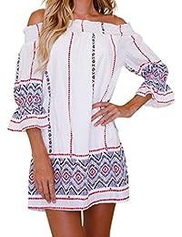 Vestido de Verano de Mujer, Dragon868 Mujeres Jóvenes de Hombro Mini Vestido geométrico Playa