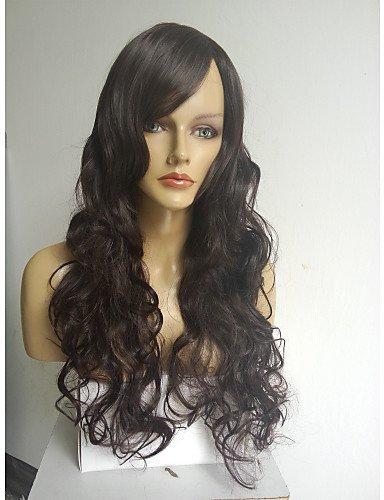 Extra Lange Schwarze Perücke (Praktische Mode Perücken europäisches Haar Dame extra lange Hochtemperaturfaser schwarze Perücke)