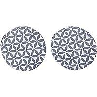Homemaison 991719 Boîte de 2 Pinces Motif Tomettes Résine Bleu 6 x 1 cm