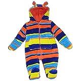 Pitterpatter Tuta da bambino, taglia: 0-9 mesi, colore: rosa, 1 pezzo, a strisce, con cappuccio, motivo orsetto Bright Stripe 0-3 mesi