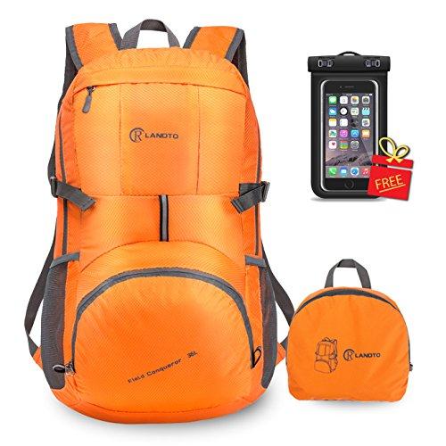 zomake leicht Rucksack, 35L Wandern wasserabweisend faltbar Rucksack Daypack für Shool Reise Camping outdoor Orange