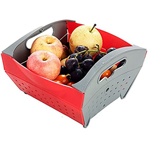 MATE Generic Automatic Skimmers/Colander Collapsible Basket with Handle Red by MATE