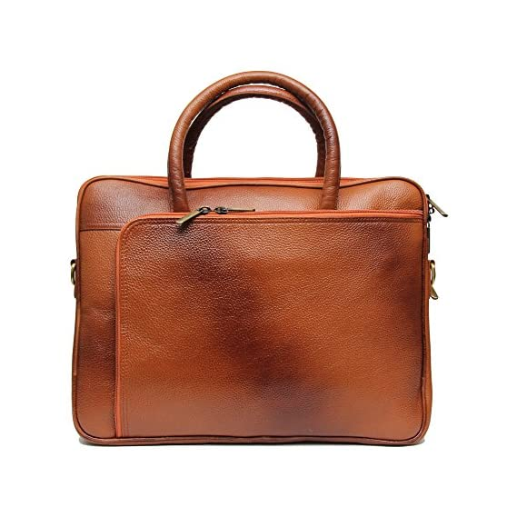 Comfort 15 inch Pure Leather Tan Laptop Bag, EL97 (Tan)