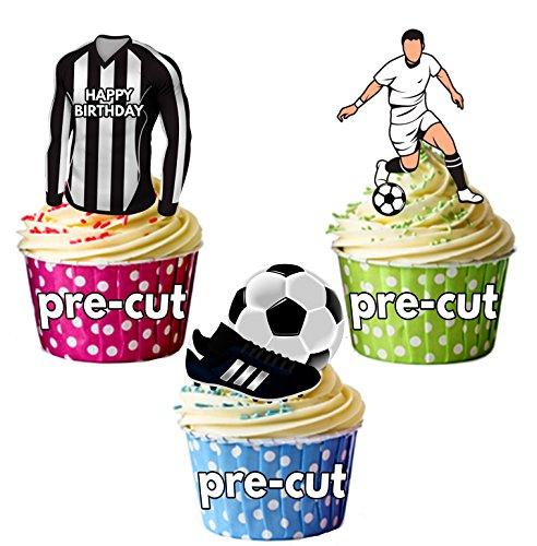 AK Giftshop vorgeschnittenen Happy Birthday Fußball Party Pack-Essbare Cupcake Topper/Kuchen Dekorationen Newcastle Farben (12Stück)