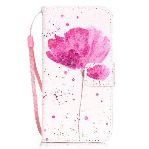 jbTec® Flip Case Handy-Hülle zu Apple iPhone 8 / iPhone 7 - BOOK MOTIV #03 - Handy-Tasche, Schutz-Hülle, Cover, Handyhülle, Ständer, Bookstyle, Booklet, Motiv / Muster:Rosen-Blumen B25 Mohnblume B93