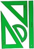 PACK LOTE Juego técnico Verde Faber Castell 65021 escuadra, cartabón, regla y semicírculo + 1 unidad de Bigotera Maped Precision System 291010 (Colores Surtidos) con Adaptador + REGALO
