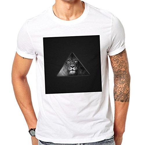 Illuminati Triangle Art Majestic Square Lion Black Herren T-Shirt Weiß
