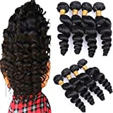 Silkylong Tissage Naturel en Lot 4 Cheveux Bresilienne Meche Humain Vrai Vierge Remy Brazilian Hair Weave Extension Natural Color Cheap for Women 14 16 18 20 pouces