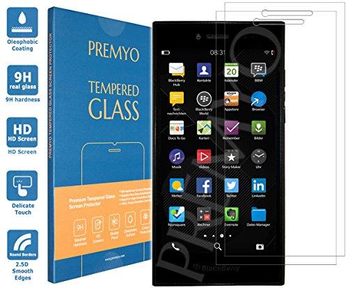 PREMYO 2 Stück Panzerglas Schutzglas Bildschirmschutzfolie Folie kompatibel für BlackBerry Leap Blasenfrei HD-Klar 9H 2,5D Gegen Kratzer Fingerabdrücke