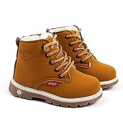 Tefamore Bambini Caldo Ragazzi Stivali Martin Sneaker Bambini Casual Scarpe (27, Giallo)