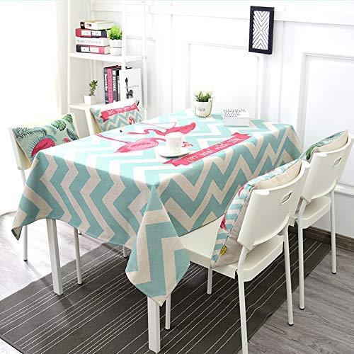 Pique-nique Home Garden coton lin nappe petit frais rectangulaire restaurant table basse couverture chiffon nappe ronde flamingo filet rouge Style simple (Couleur : B, Taille : 140 * 140cm)