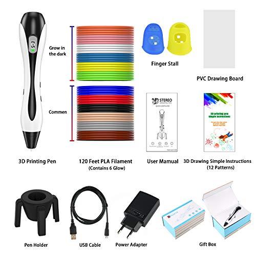 3D Stifte, für Kinder Erwachsene Anfänger mit PLA Filament 12 Farben -【Neueste Version 2019】Lovebay 3D Stifte Set mit PLA Farben 120 Fuß, 3d pen Starter Set als kreatives Geschenk, Bastler zu 3D kritzeleien, malen, basteln und drücken - 3