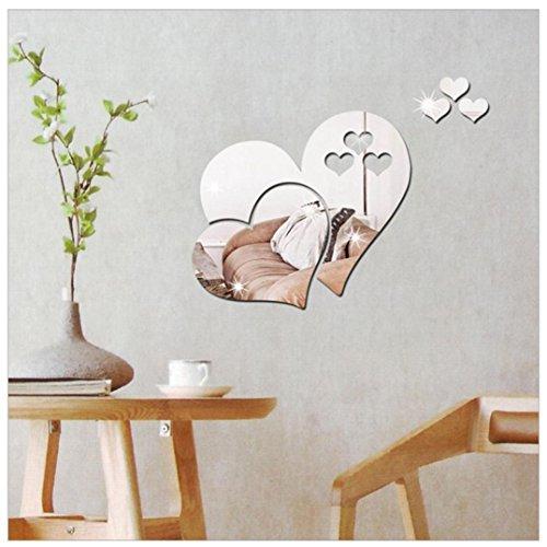 pegatina de pared 3d espejo de pared pegatinas decoración del hogar de la decoración de diy Sannysis pegatinas decorativas adhesiva pared dormitorio infantiles niños bebés - amor corazones forma (Plata)