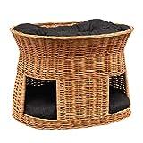 GalaDis 2-21-3 Große Katzenhöhle XXL (75 x 55 x 53 cm) aus Weide mit Zwei Kissen/Katzenkorb/Katzenbett für eine oder Zwei Katzen/Katzenturm auch f. Maine Coon & Co.