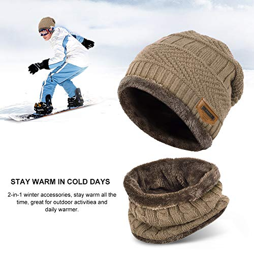 Vbiger Cappello Uomo invernale Berretto Uomo in Maglia con sciarpa (Cachi- nuovo) 97bdc0df3c64