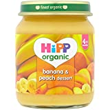 HiPP Organic Stage 1 From 4 Months Banana and Peach Dessert 6 x 125 g (Pack of 2, Total 12 Pots)