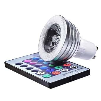 hi end 3w gu10 t l commande led rgb ampoule lumi re changement de couleur feu de projecteur. Black Bedroom Furniture Sets. Home Design Ideas