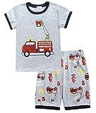Tarkis Jungen Schlafanzug Feuerwehrauto/Dinosaurier/Bagger Baumwolle Kinder Kurzarm Pyjama 92 98 104 110 116 122