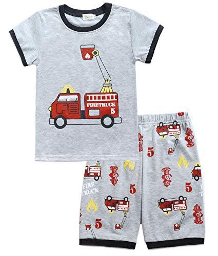 4a045aeb01 Tarkis Jungen Baumwolle Schlafanzug Kurzarm- Pyjama, 02 Grau  (Feuerwehrauto), Gr.-104 (Herstellergröße: 110)