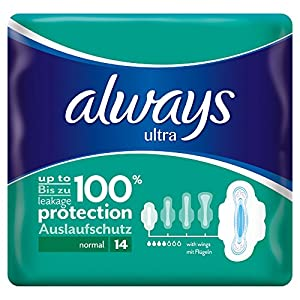 Always Ultra Normal Plus Sanitary Towels with Wings, 14 Pads