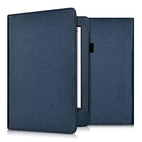 kwmobile Housse en cuir synthétique noble BOOK STYLE pour Kobo Aura H2O in bleu foncé