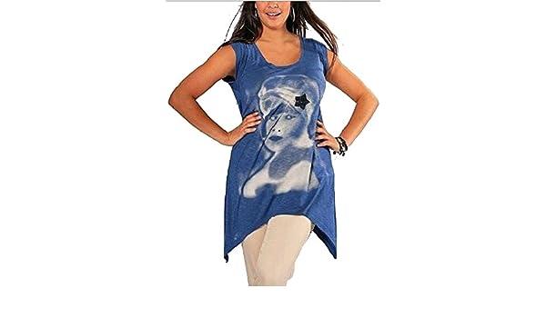 40//42 Top BLAU Pailletten Druck NEU 951986 Zipfelsaum Longshirt Gr