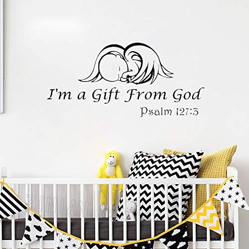 zqyjhkou Baby Nursery Vinyl Wall Stickers Cotizaciones Soy un Regalo de Dios Baby Angel Salmo 127: 3 Baby Girl Boy Decoración de la habitación Tatuajes de Pared Z490 87X42 cm