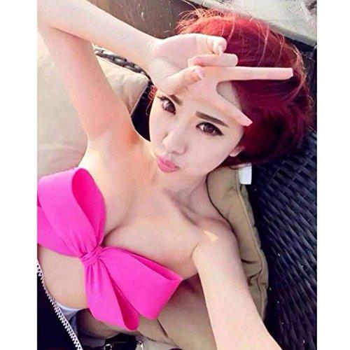 BZLine® Frauen solide Bademode Bikini Big Bowknot Beach Wear Push up Badeanzug Hot Pink