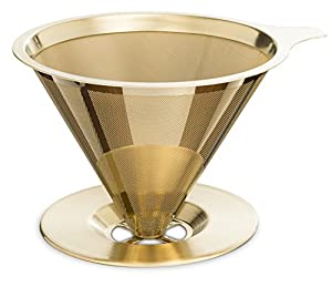 Titanium Coated Pour Over Cone Dripper Stainless Steel Reusable Coffee Filter and Single Cup Coffee maker