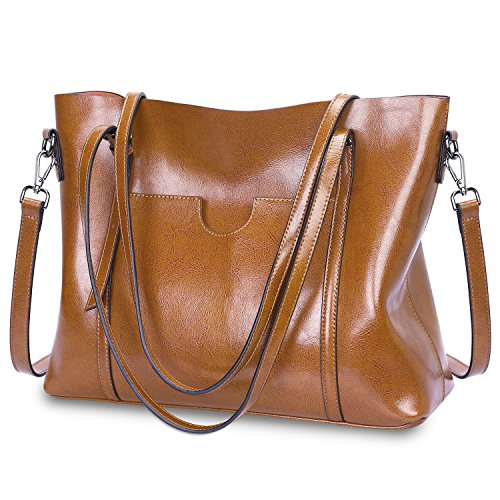 S-ZONE Damen Vintage 3-Way Echtes Leder Tote Schultertasche Handtasche Mode Handtasche Messenger Bag (Canvas Braun Tote Bag)