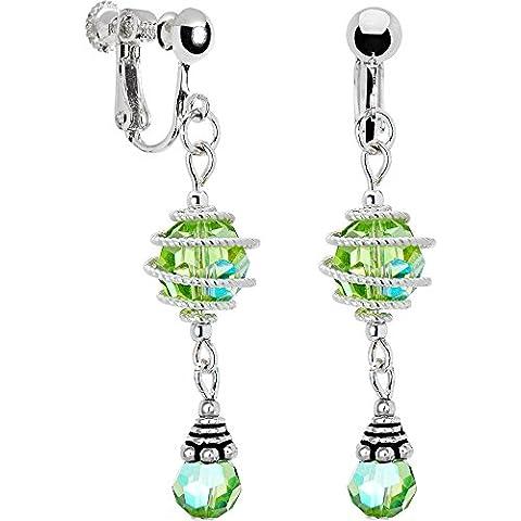 Handcrafted verde aurora Swirl clip orecchini creati con cristalli Swarovski - 2007 Di Cristallo