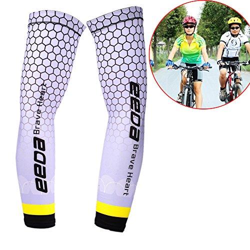 Armlinge Fahrrad Bike Wear Running Wear Arm Sleeve Anti-UV mit Polyester und Nylon für Sport Unisex Elastic Weiß M