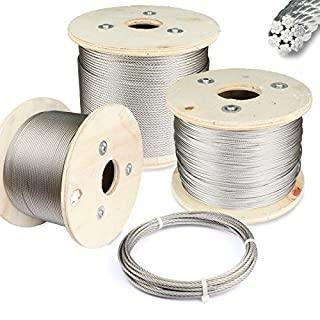 PRIOstahl Drahtseil aus Edelstahl V4A 7x7 Reling Draht Seil Seile Stahlseil (1,5mm, 20 Stück)