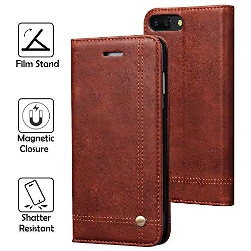 REAL-EAGLE OnePlus 5 hülle, Stand Hülle Etui with Karte Halterung Leder Wallet Klapphülle Flip Book Case TPU Cover für OnePlus 5 2017 Smartphone. (Brown)