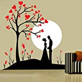 DECOR Kafe Home Decor Couple Under Tree Wall Sticker, Wall Sticker For Bedroom, Wall Art, Wall Poster (PVC Vinyl, 63 X 68 CM)