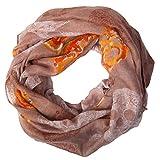 MANUMAR Loop-Schal für Damen | Hals-Tuch in Braun mit Totenkopf Motiv als perfektes Herbst Winter Accessoire | Schlauchschal | Damen-Schal | Rundschal | Geschenkidee für Frauen und Mädchen