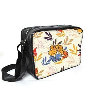 Snoogg Colorful Blumen Leder Unisex Messenger Bag für College Schule täglichen Gebrauch Tasche Material PU